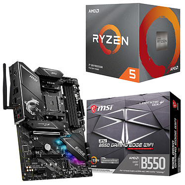 Kit Upgrade PC AMD Ryzen 5 3600 MSI MPG B550 GAMING EDGE WIFI Carte mère Socket AM4 AMD B550 + AMD Ryzen 5 3600 Wraith Stealth (3.6 GHz / 4.2 GHz)