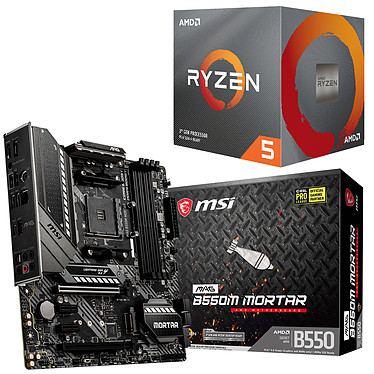 Kit Upgrade PC AMD Ryzen 5 3600 MSI MAG B550M MORTAR Carte mère Socket AM4 AMD B550 + AMD Ryzen 5 3600 Wraith Stealth (3.6 GHz / 4.2 GHz)