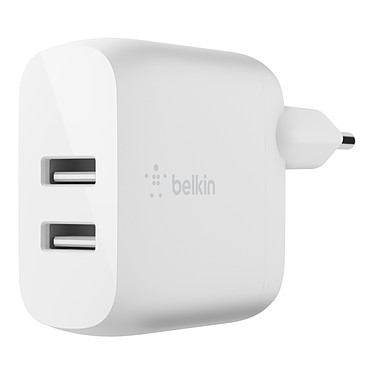 Belkin Boost Charge Chargeur secteur 2 ports USB-A 24 W (Blanc) Chargeur secteur portatif 2 ports USB-A 24 W - Blanc