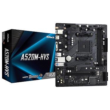 ASRock A520M-HVS Carte mère Micro ATX Socket AM4 AMD A520 - 2x DDR4 - M.2 PCIe NVMe - USB 3.0 - 1x PCI-Express 3.0 16x