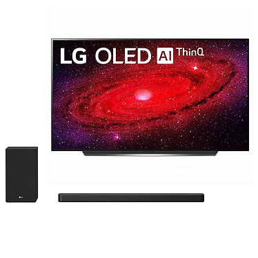 "LG OLED65CX + SN8YG Téléviseur OLED 4K 65"" - Dolby Vision IQ - Wi-Fi/Bluetooth/AirPlay 2 - Compatible G-Sync/FreeSync - HDMI 2.1 - Google Assistant/Alexa - Son 2.2 40W Dolby Atmos (dalle native 100 Hz) + Barre de son 3.1.2 440 Watts"