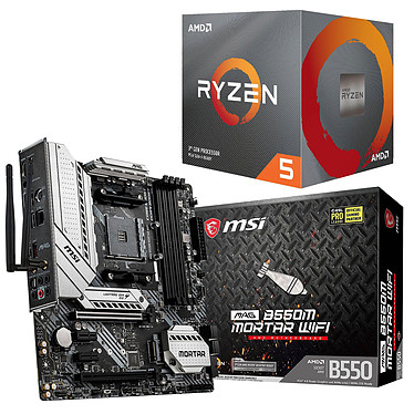 Kit Upgrade PC AMD Ryzen 5 3600X MSI MAG B550M MORTAR WIFI Placa base Socket AM4 AMD B550 AMD Ryzen 5 3600X Wraith Spire (3.8 GHz / 4.4 GHz)
