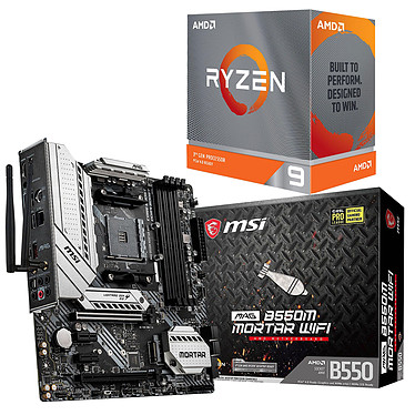 Kit Upgrade PC AMD Ryzen 9 3900XT MSI MAG B550M MORTAR WIFI Carte mère Socket AM4 AMD B550 + AMD Ryzen 9 3900XT (3.8 GHz / 4.7 GHz)
