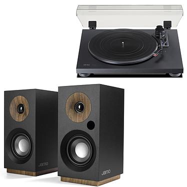 Teac TN-180BT Noir + Jamo S 801 PM Noir Platine vinyle à 3 vitesses (33-45-78 trs/min) avec pré-ampli intégré et Bluetooth + Enceinte bibliothèque compacte sans fil - 60W RMS - RCA/Optique/USB - Bluetooth (par paire)