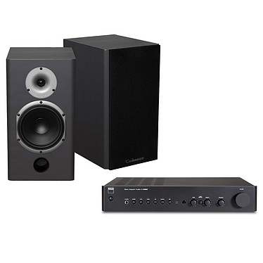 NAD C 316BEE V2 Graphite + Cabasse Antigua MT22 Noir Amplificateur stéréo intégré 2 x 40 W avec étage phono RIAA + Enceinte bibliothèque 75W (par paire)