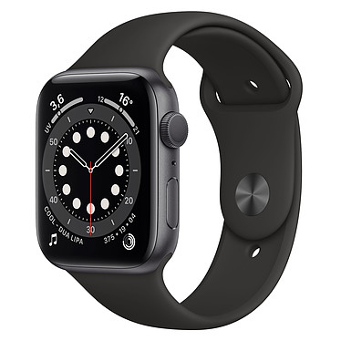 Apple Watch Series 6 GPS Aluminium Space Gray Bracelet Sport Black 44 mm Reloj Smartwatch - Aluminio - Impermeable - GPS - Cardiofrecuencímetro - Retina Always On screen - Wi-Fi 5 GHz / Bluetooth - watchOS 7 - Correa deportiva 44 mm