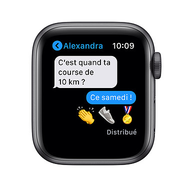 Apple Watch Series 6 GPS Aluminium Space Gray Bracelet Sport Black 40 mm pas cher