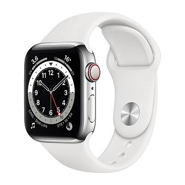Apple Watch Series 6 GPS + Cellular Stainless steel Silver Bracelet Sport White 40 mm