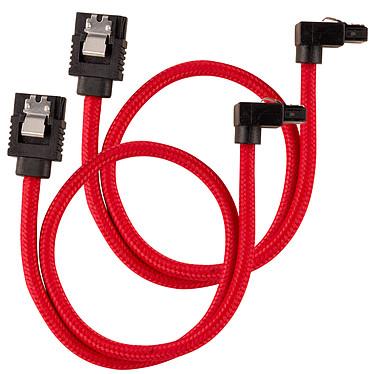 Corsair Câble SATA gainé Premium 30 cm connecteur coudé (coloris rouge) Lot de deux câbles SATA gainé 30 cm connecteur coudé à 90° compatibles SATA 3.0 (6 Gb/s)