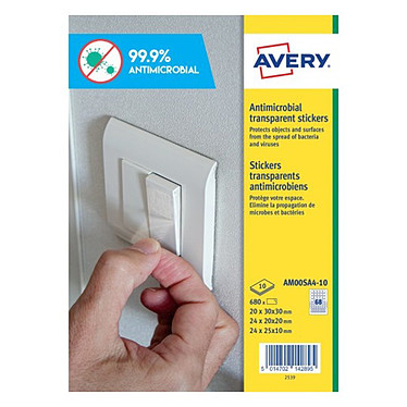 Avery 680 Stickers carrés antimicrobien tailles assorties (AM00SA4-10)