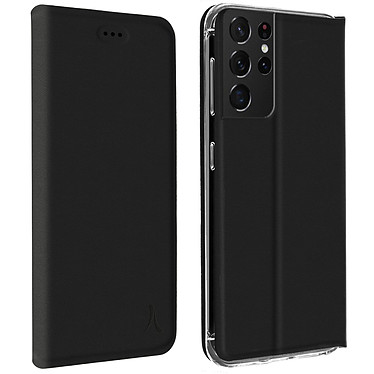 Akashi Etui Folio Porte Carte Noir Samsung Galaxy S21 Ultra