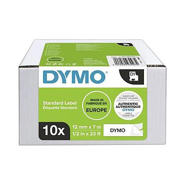 DYMO Pack de 10 Rubans D1 Standard - blanc/noir 12 mm - 7 m
