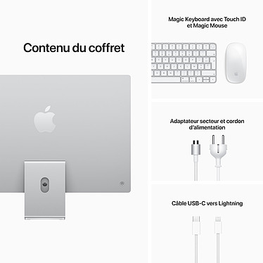 """Apple iMac (2021) 24"""" 1 To Argent (MGPD3FN/A-M1-8/8-16GB-1TB-MKPN) pas cher"""