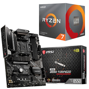 Kit Upgrade PC AMD Ryzen 7 3700X MSI MAG B550 TORPEDO Carte mère Socket AM4 AMD B550 + AMD Ryzen 7 3700X Wraith Prism LED RGB (3.6 GHz / 4.4 GHz)