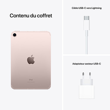 Apple iPad mini (2021) 256 Go Wi-Fi + Cellular Rose pas cher