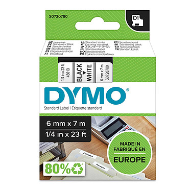 DYMO Ruban D1 Standard - noir sur blanc 6 mm x 7 m