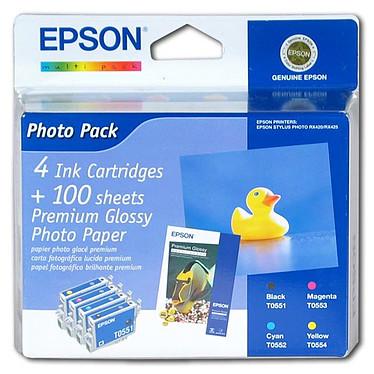 Epson PhotoPack pour RX420/425/520 (100 feuilles 10x15 cm + 4 cartouches d'encre: T0551/T0552/T0553/T0554)