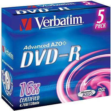 Verbatim DVD-R 4.7 Go 16x (par 5, boite) Verbatim DVD-R 4.7 Go certifié 16x (pack de 5, boitier standard)