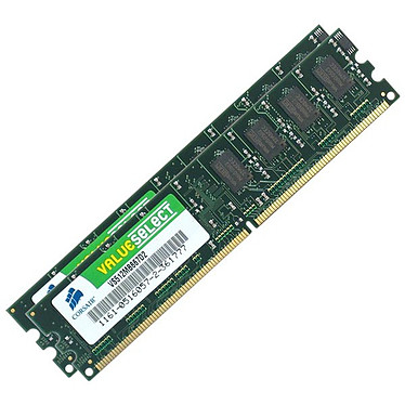 Corsair Value Select 1 Go (kit 2x 512 Mo) DDR2-SDRAM PC5300 - VS1GBKIT667D2 (garantie à vie par Corsair)