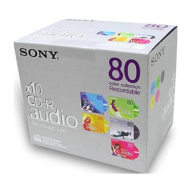 SONY PACK DE 10CD AUDIO 80MN COULEUR