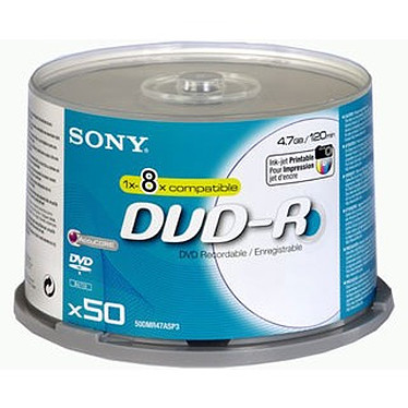 Sony DVD-R 4.7 Go 8x imprimable (par, spindle)
