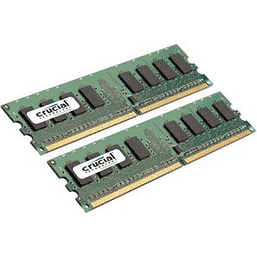 Crucial DDR2 2 Go (2x 1 Go) 667 MHz Kit Dual Channel RAM DDR2 PC5300 - CT2KIT12864AA667 (garantie 10 ans par Crucial)