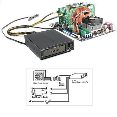 Thermaltake Power Express 250W W0099 Thermaltake Power Express - Alimentation 250W indépendante pour cartes graphiques SLI (dans baie 5 pouces 1/4)