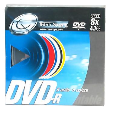Tx DVD-R 4.7 Go Certifié 8x Couleur (pack de 5, spindle)