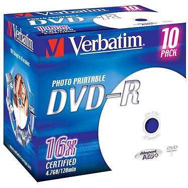 Verbatim DVD-R 4.7 Go 16x imprimable (par 10, boite) Verbatim DVD-R 4.7 Go certifié 16x imprimable (pack de 10, boitier standard)