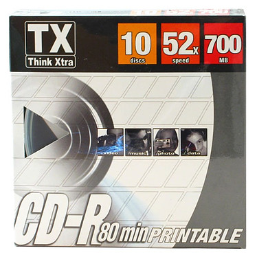 Tx CD-R 700 Mo Certifié 52x Imprimable (pack de 10, spindle)
