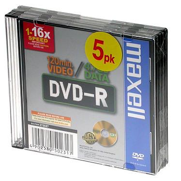 Maxell DVD-R 4.7 Go Certifié 16x Imprimable (pack de 5)