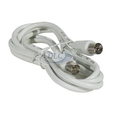 Cable coaxial macho/hembra para antena de TV (10 metros) - (color blanco)