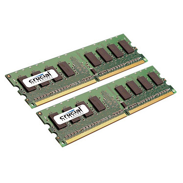 Crucial DDR2 2 Go (2x 1 Go) 800 MHz CL6 Kit Dual Channel RAM DDR2 PC6400 - CT2KIT12864AA800 (garantie 10 ans par Crucial)