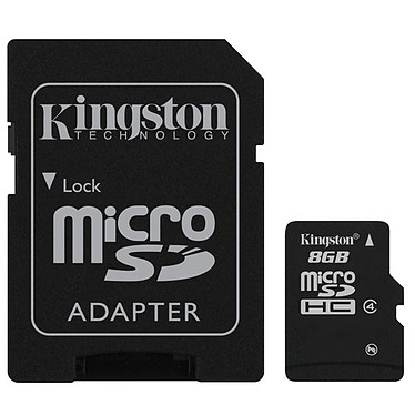 Kingston microSD 8 Go High Capacity + adaptateur SD