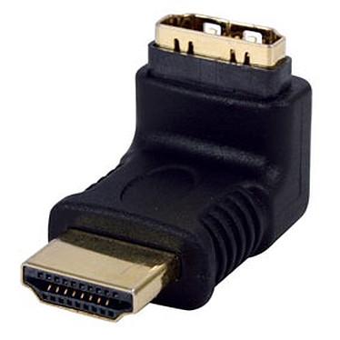Adaptateur HDMI mâle - HDMI femelle coudé 270° plaqué or