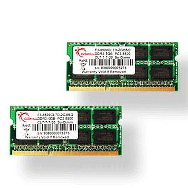 G.Skill SODIMM 8 Go (2x 4Go) DDR3 1066 MHz G.Skill SODIMM 8 Go (Kit 2x 4 Go) DDR3-SDRAM PC3-8500 - F3-8500CL7D-8GBSQ