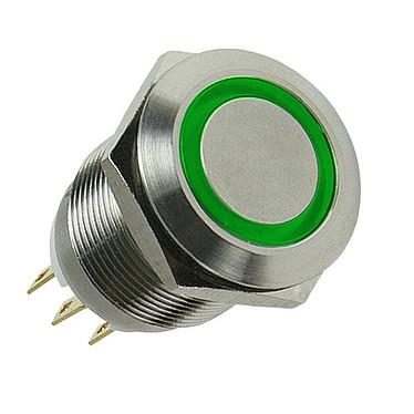 Bouton lumineux (lumière verte, coloris argent) Bouton lumineux pour boitier (lumière verte, coloris argent)
