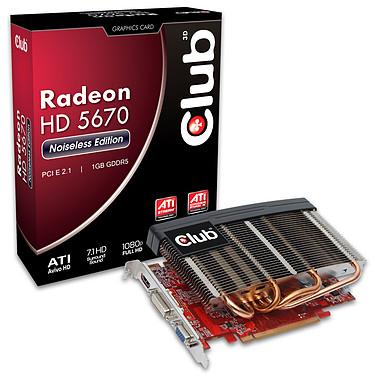 Club 3D Radeon HD 5670 Noiseless Edition 1024 MB Club 3D Radeon HD 5670 Noiseless Edition 1024 MB - 1 Go HDMI/DVI - PCI-Express (ATI Radeon HD 5670)