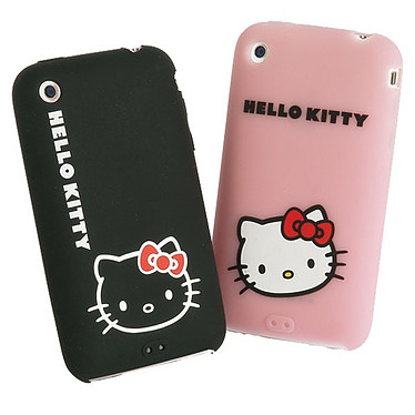 Hello Kitty - Lot de 2 Coques Silicone pour iPhone 3G / 3GS (coloris noir & rose) Hello Kitty - Lot de 2 Coques Silicone pour iPhone 3G / 3GS (coloris noir & rose)
