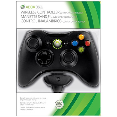 Microsoft Xbox 360 Wireless Controller Noir + Play and Charge Kit Noir Microsoft Xbox 360 Wireless Controller Noir + Play and Charge Kit Noir