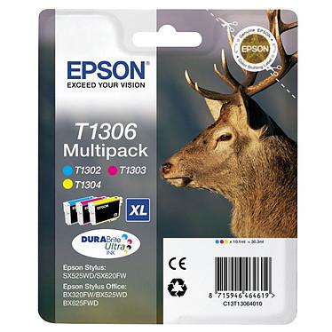 Epson T1306 Multipack XL Pack de 3 cartouches d'encre cyan, magenta, jaune haute capacité