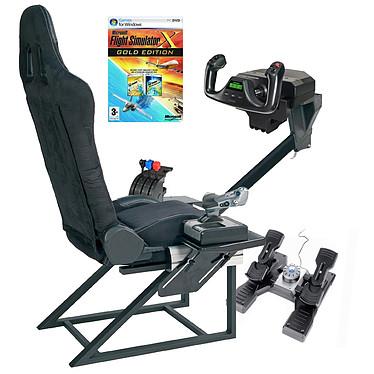 Playseats FlightSeat + Joystick et Palonniers Playseats FlightSeat Noir + Saitek Pro Yoke Flight System +  Pro Flight Rudder Pedals PZ35 + Flight Simulator X Edition Gold
