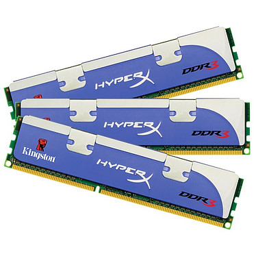 "Kingston HyperX 6 Go (3x 2Go) DDR3 1600 MHz Kingston HyperX ""Triple Channel"" 6 Go (Kit 3x 2 Go) DDR3-SDRAM PC12800 CL7 - KHX1600C7D3K3/6GX (garantie 10 ans par Kingston)"