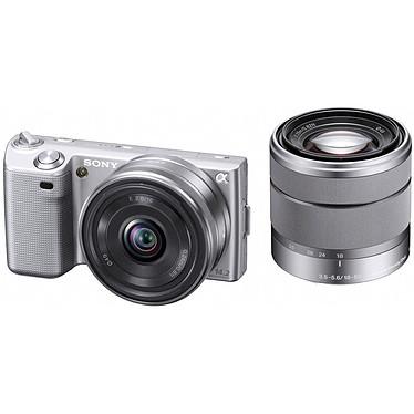 Sony NEX-5 Argent + Objectif 16 mm + Objectif 18-55 mm Sony NEX-5 Argent + Objectif 16 mm   Objectif 18-55 mm - Appareil photo hybride 14.2 MP - Vidéo Full HD