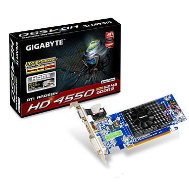 Gigabyte GV-R455HM-512I HyperMemory 128 Mo/512Mo Gigabyte GV-R455HM-512I HyperMemory - 128 Mo (512 Mo adressables) DVI/HDMI - PCI Express (ATI Radeon HD 4550)
