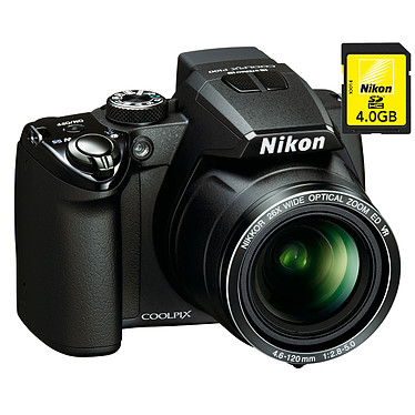 Nikon Coolpix P100 Noir + Nikon Carte SDHC 4 Go Nikon Coolpix P100 Noir + Nikon Carte SDHC 4 Go - Appareil photo 10.3 MP - Zoom 26x - Vidéo Full HD
