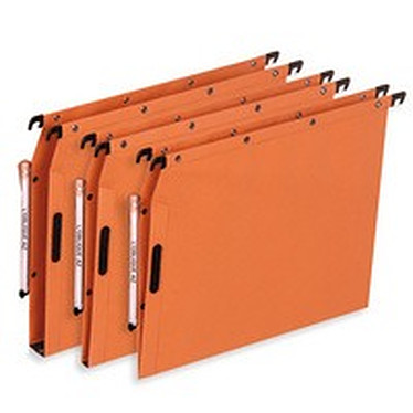 25 Dossiers suspendus fond 15 mm Orange avec velcro