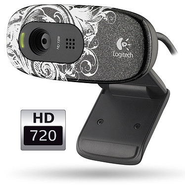 "Logitech HD Webcam C270 - Fleur Dark Logitech HD Webcam C270 - Coloris noir/blanc ""Fleur Dark"""