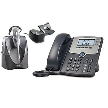 Cisco Small Business PRO SPA504G + Plantronics CS60 + Module de décrochage HL10 Cisco Small Business PRO SPA504G + Plantronics CS60 + Module de décrochage HL10 - Téléphone 4 lignes pour VoIP
