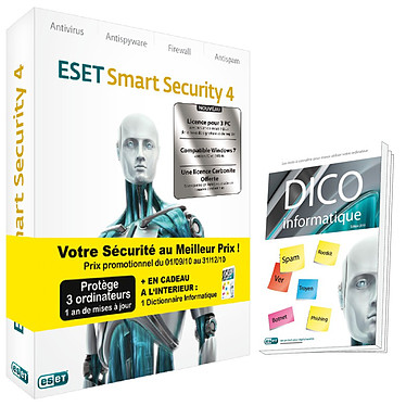 ESET Smart Security 4 ESET Smart Security 4 - Licence 1 an 3 postes (français, WINDOWS)